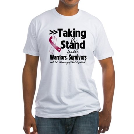 Stand Throat Cancer Fitted T-Shirt