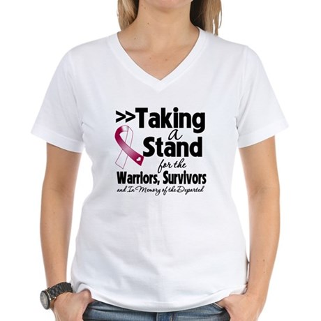 Stand Throat Cancer Women's V-Neck T-Shirt