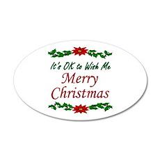"""Merry Christmas!"" 20x12 Oval Wall Decal"