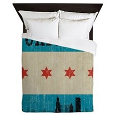 Vintage Chicago Skyline Queen Duvet
