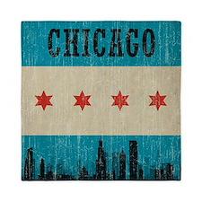Vintage Chicago Skyline Queen Duvet