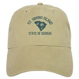 St. Simons GA - Map Design. Baseball Cap