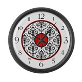 Red Black White Damask Elegant Clock Large Wall Cl
