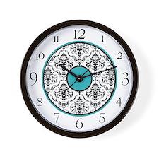 Turquoise Black White Damask Elegant Clock Wall Cl