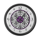Purple Black White Damask Elegant Clock Large Wall