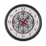 Pink Black White Damask Elegant Clock Large Wall C