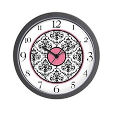 Pink Black White Damask Elegant Clock Wall Clock