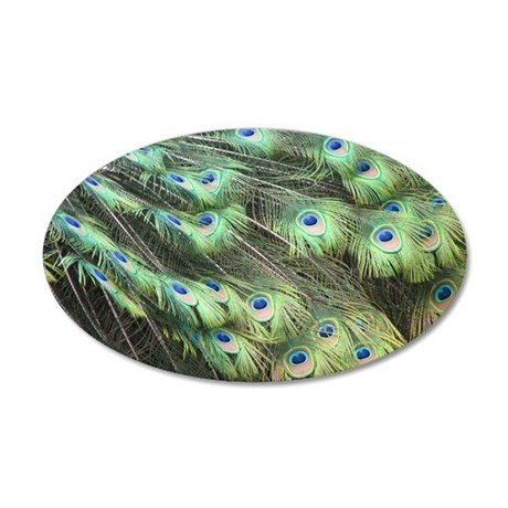 Helaine's Peacock Feathers 20x12 Oval Wall Decal