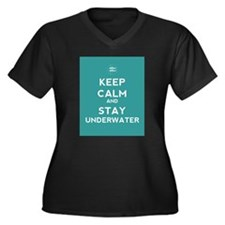 Keep Calm and Stay Underwater Women's Plus Size V-