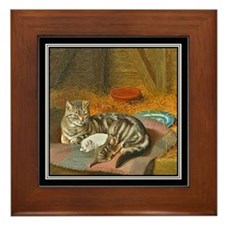 MAMA CAT & PUPPY Framed Tile