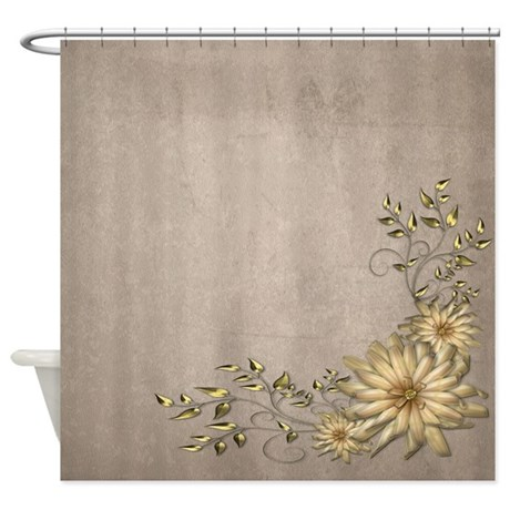 Brass And Floral Shower Curtain By Izmetsdream