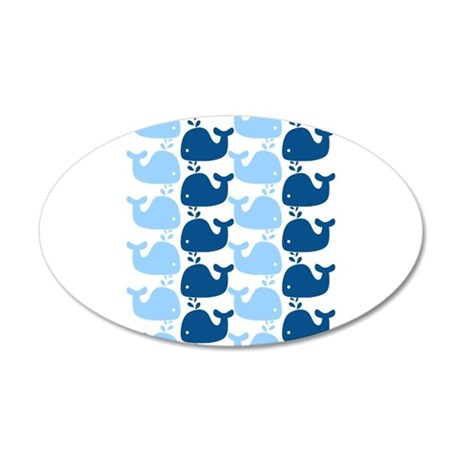 Whale Silhouette Print 20x12 Oval Wall Decal