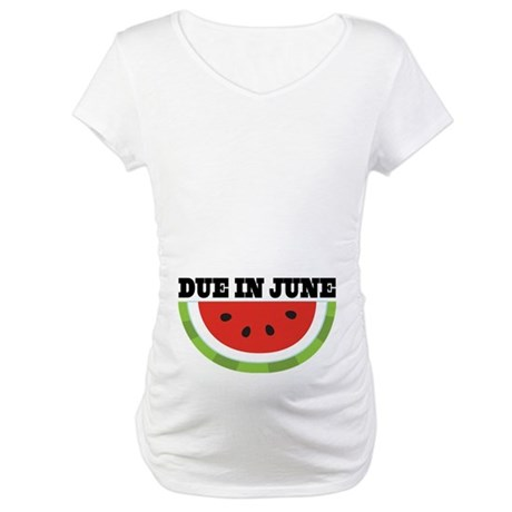 Due In June Watermelon Maternity T-Shirt
