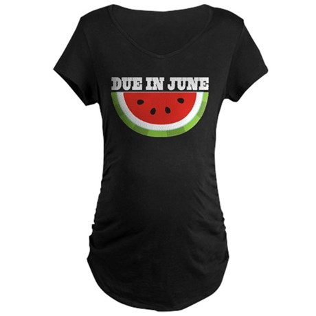 June Due Date Watermelon Maternity Dark T-Shirt