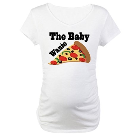 Pizza Craving Pregnancy Quote Maternity T-Shirt