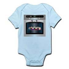 Cute Happy Oven with cupcakes Infant Bodysuit