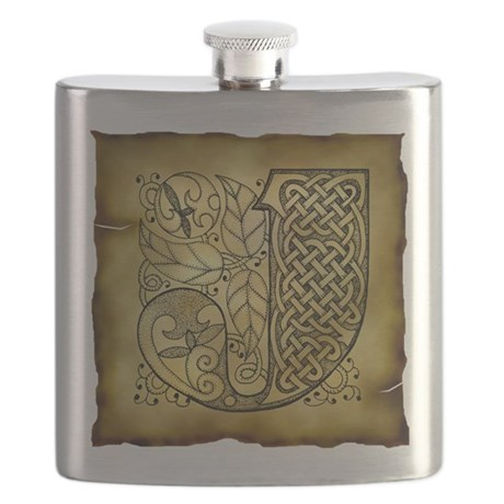 Celtic Letter J Flask