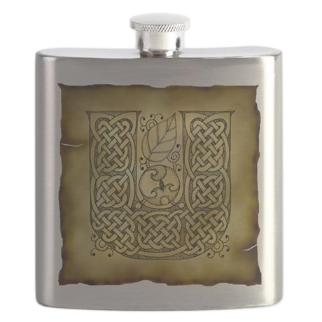 Celtic Letter U Flask