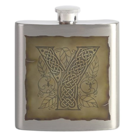 Celtic Letter Y Flask