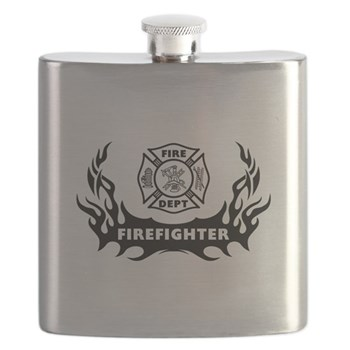 Firefighter Tattoo Flask