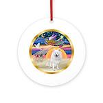 XmasAngel-American Eskimo Dog Ornament (Round)