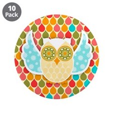 "Owl Boheme White 3.5"" Button (10 pack)"