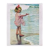 Child at the beach Throw Blanket