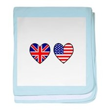 USA UK Hearts on White baby blanket