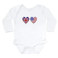 USA UK Hearts on White Long Sleeve Infant Bodysuit