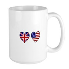 USA Union Jack Hearts on White Mug