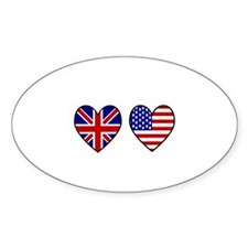 USA Union Jack Hearts on White Decal