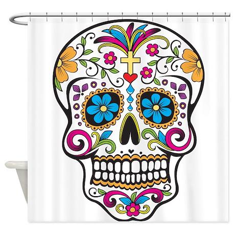 sugar skull shower curtain by thefantasticshirtandmoreshop. Black Bedroom Furniture Sets. Home Design Ideas