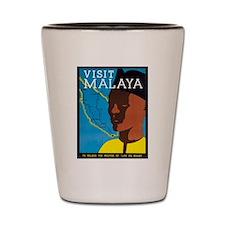 Malaya Travel Poster 2 Shot Glass