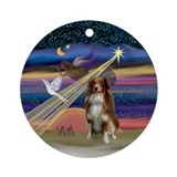 XmasAngel-Red-white Aussie Shep Ornament (Round)