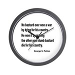 Patton on Winning a War Wall Clock