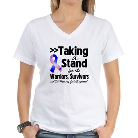 Stand Male Breast Cancer Women's V-Neck T-Shirt