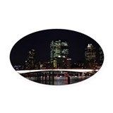 Brisbane City Night Oval Car Magnet