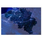 Belgium by night, satellite image