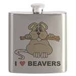 I Love Beavers Flask