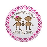 10th Anniversary Love Monkeys Ornament (Round)