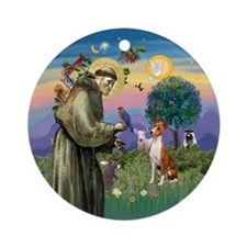 St Francis Blessing a Basenji Ornament (Round)