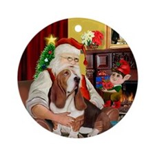 Santa and his Basset Hound Ornament (Round)