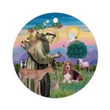 St Francis Blesses a Basset Hound Ornament (Round)