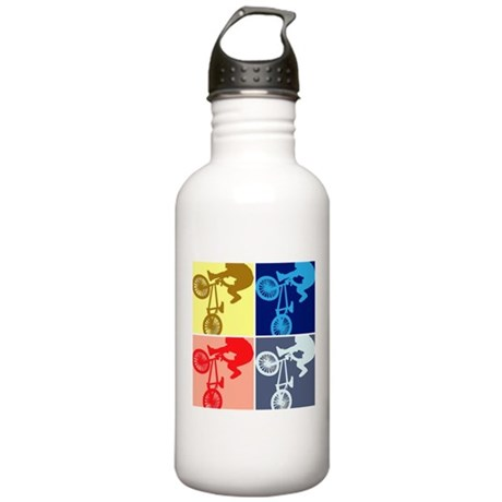 BMX Bike Rider/Pop Art Stainless Water Bottle 1.0L