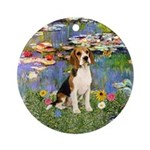Lilies2 - Beagle Ornament (Round)