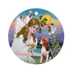 Angel loving a Beagle Ornament (Round)
