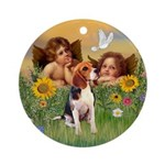 Two Cherubs - Beagle Ornament (Round)
