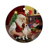 Santa and his Beagle Ornament (Round)
