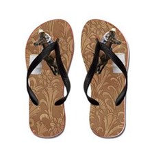 Barrel Racing Saddle Leather Flip Flops