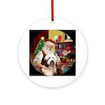 Santa & his Bearded Collie (#1) Ornament (Roun